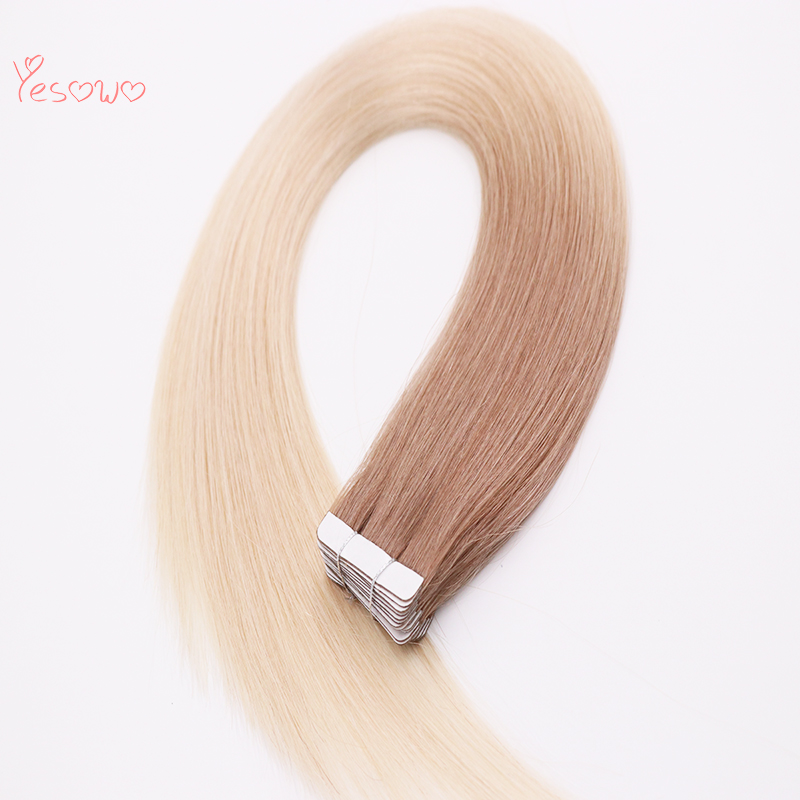 Yesowo New Arrival Straight Tape On Hair 6T613# Colored Two Tone 20Pcs High Quality Brazilian Remy Human Hair Tape In Extensions