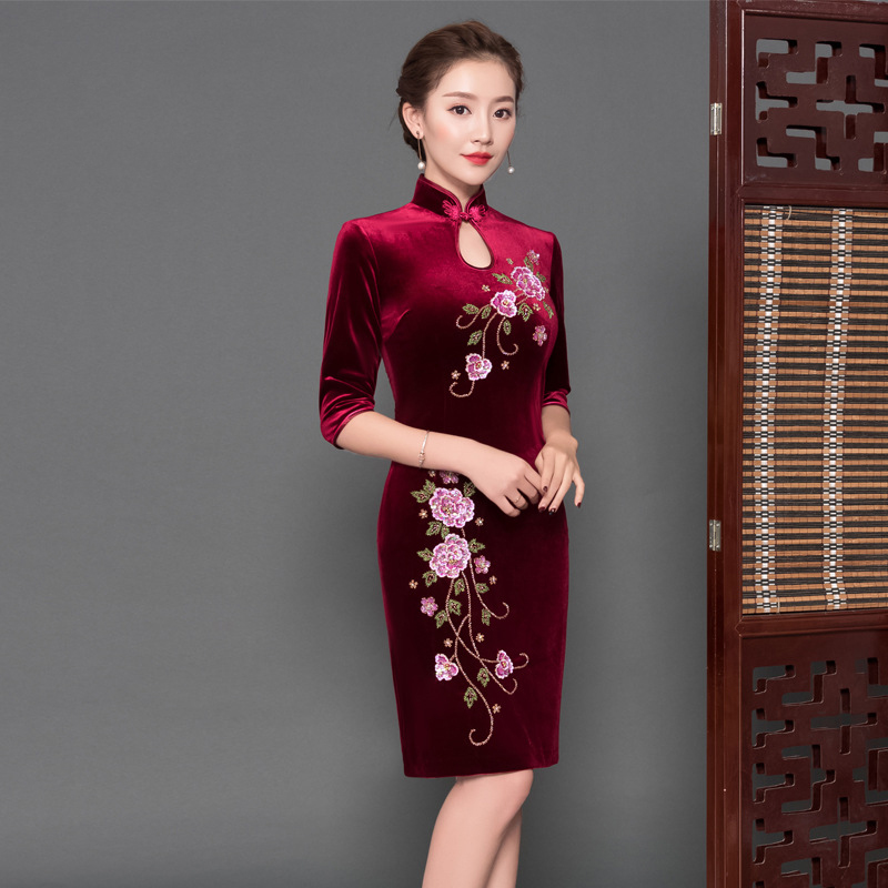 Large Size 3XL 4XL Vestidos For Female Sexy Novelty Tight Oriental Chinese Modern Qipao Half Sleeve Long Cheongsam Evening Dress