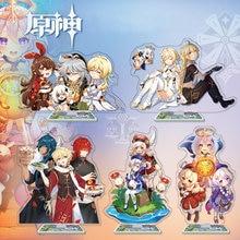 Jeu d'anime Genshin L'impact Figure Support Acrylique Modèle Jouet Xiao Venti Diluc Qiqi Figurine Décoration Anime Amoureux Cadeaux BRICOLAGE