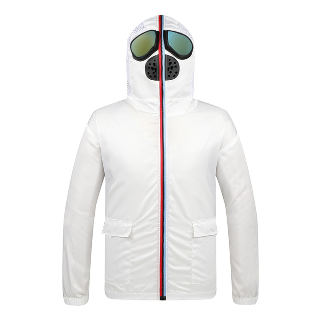 Men Jacket Spring Big Size 4xl Protective Windbreaker Jackets Women Motorcycle Hooded with Glasses Mask Male Coat Thin Korean 2