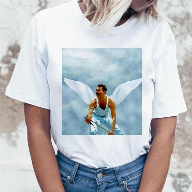 Freddie Mercury Queen Band T Shirt Women Harajuku Vintage Ullzang T-shirt Fashion Queen Tshirt 90s Graphic Rock Top Tees Female