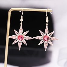 S925 silver needle Korean high-quality glittering earhook pink zircon inlaid Stars Earrings For Women