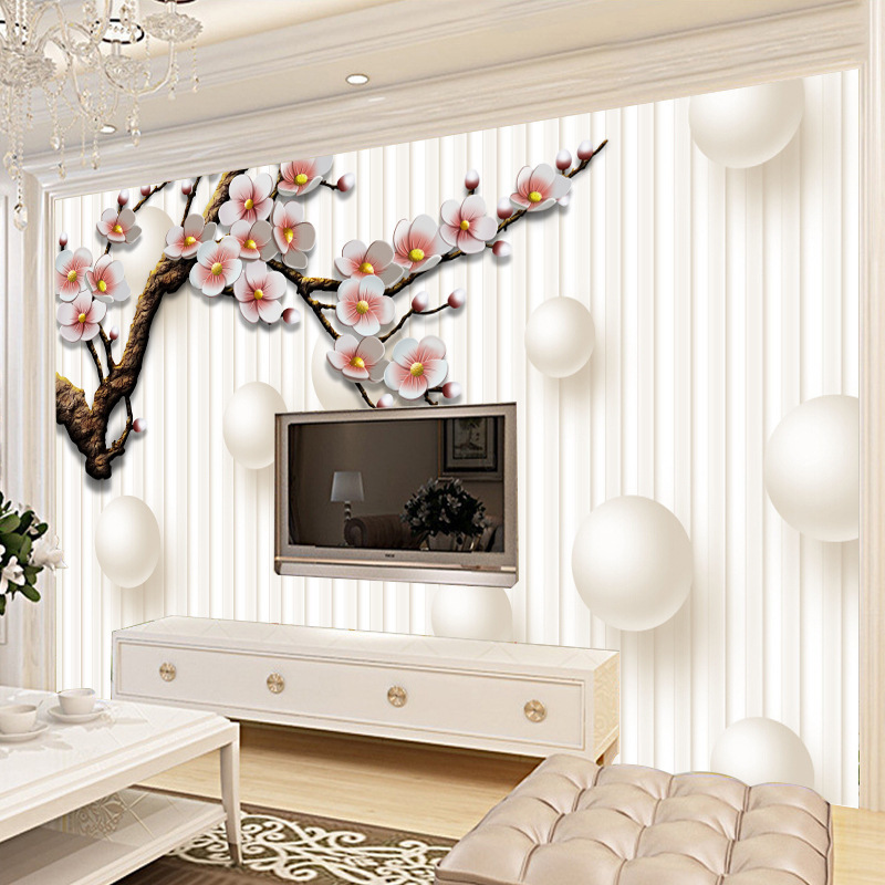 Living Room 3D TV Backdrop Mural TV Wall Pearl Shadow Wallpaper Seamless Wall Cloth European Style Wallpaper Painting