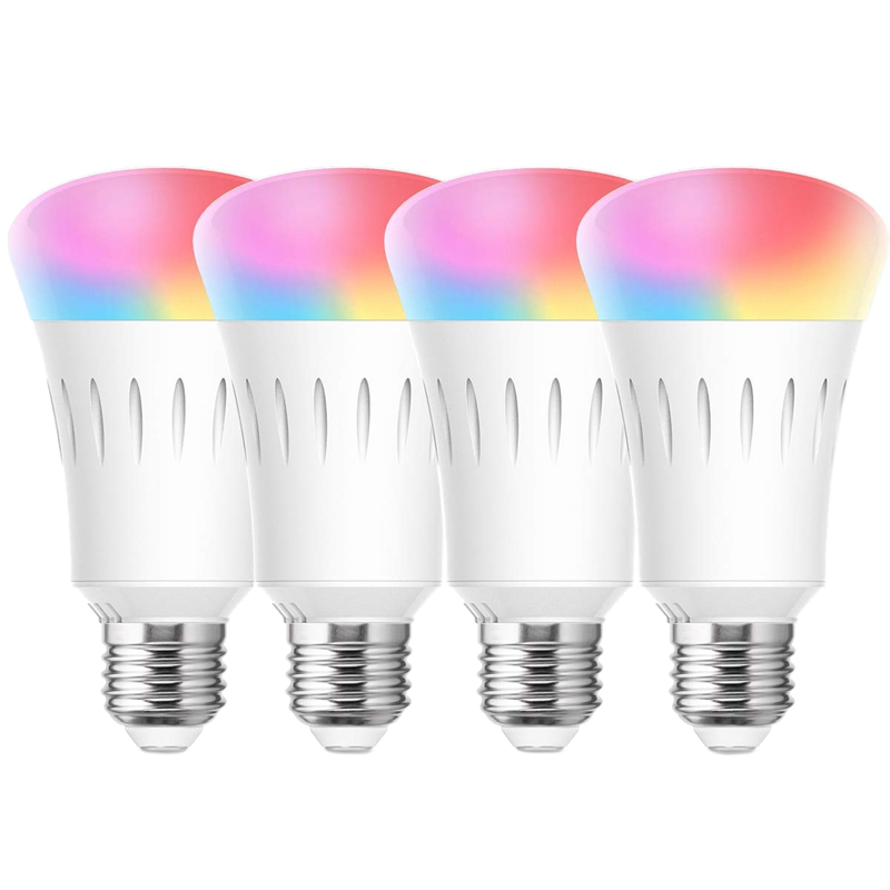 4 Pack Smart LED WiFi Light Bulb, 6000K Daylight RGB Bulb Dimmable LED E27 Bulbs Works With Alexa, Google Home