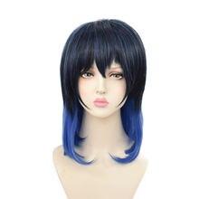 Парик для косплея черные синие градиентные искусственные волосы