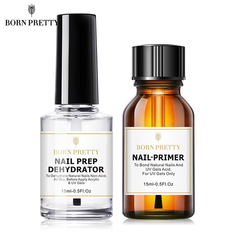 BORN PRETTY 15ML Nail Prep Dehydrator And Nail-Primer Set Free Grinding Nail Art No Need Of UV LED Lamp Gel Nail Polish Tool