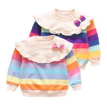 Осенняя детская Повседневная Блузка для малышей толстовки в полоску с длинными рукавами для маленьких девочек, верхняя одежда с бантом Новинка года