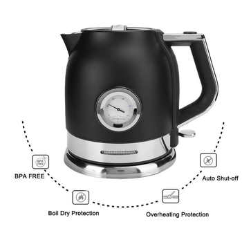 1.8L Electric Kettle Stainless Steel Fast Heating Water Boiler Pot Portable Travel Boiling Teapot With Thermometer 1500W 220V 0 5l mini electric kettle stainless steel 1000w portable travel water boiler pot sonifer