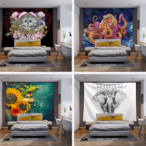 Wall tapestry animal print hippie boho for living room wall art elephant mandala wall hanging tapestry yoga throw beach towel