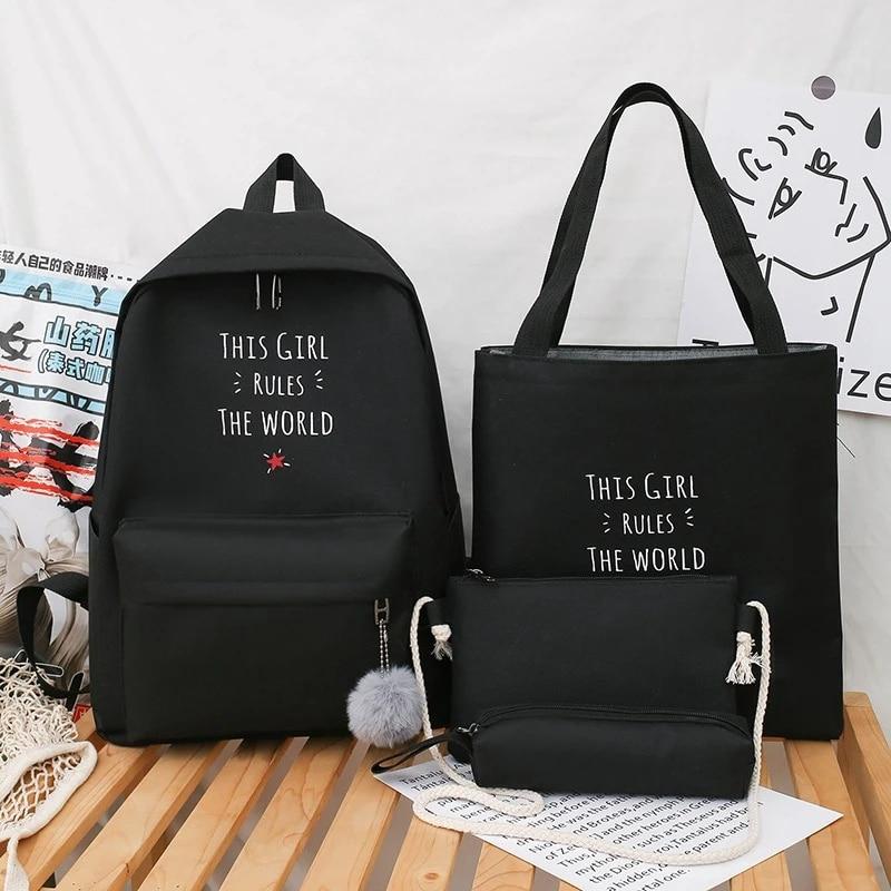 Комплект из 4 предметов, женский рюкзак, большой женский рюкзак, холщовая школьная сумка для девочек-подростков, сумки на плечо, повседневный школьный рюкзак для женщин