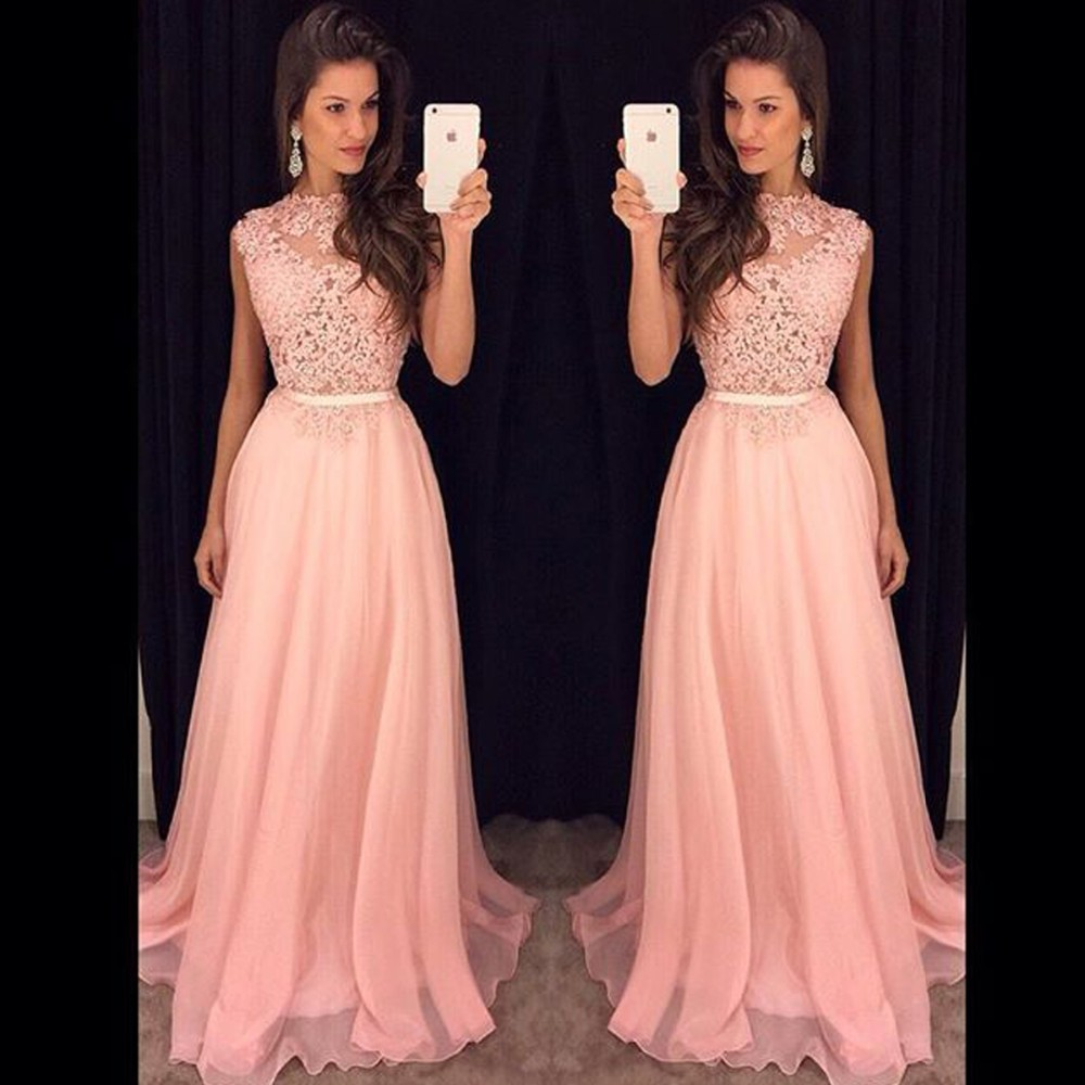 2020 Long Bridesmaid Dresses Sleeveless Chiffon Lace Pink Red Royal Blue Wedding Party Dress Formal Gowns