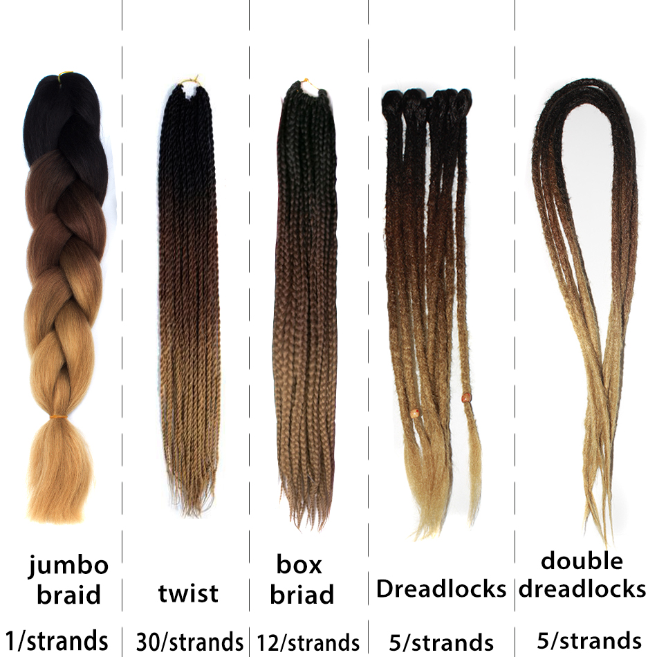 Senegalese Twist 53 Colors  Dreadlocks Boxbraid Ombre  Kanekalon Jumbo Braid Expression Synthetic Box Crochet Braiding Hair