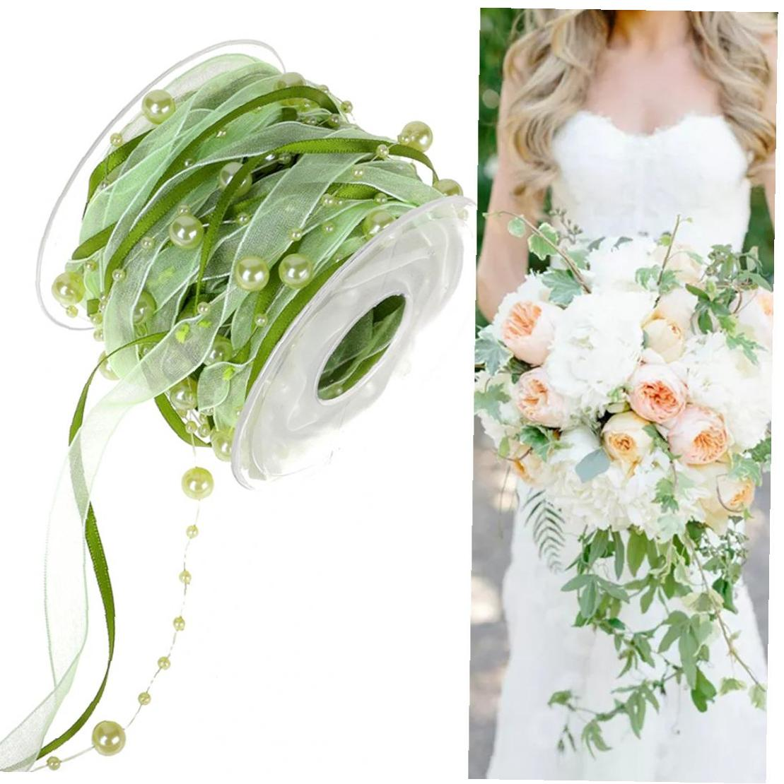 Pearl Beads Sheer Lace Trim Garland Mesh Ribbon Packing Accessory Ribbon For Wedding Decor Party DIY Craft 10m(Green) 1Roll