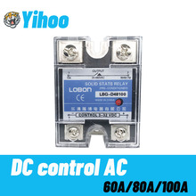 цена на Lobon SSR-60DA 80DA 100DA Relay Single Phase DC Control 3-32VDC to AC 24-480VAC Heat Sink 60A 80A 100A DA Solid State Relay