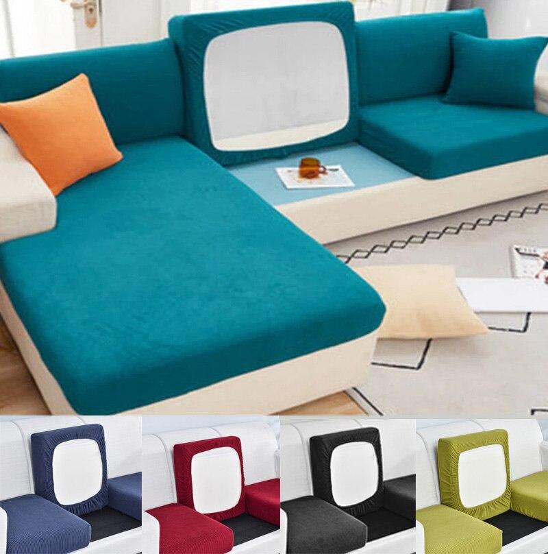 Elástico grueso funda de cojín del asiento del sofá forro Polar para esquina de sofá, funda deslizante, Protector de muebles para niños y mascotas