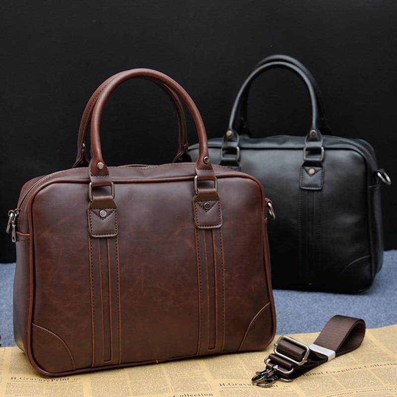 Men's Vintage Designer Briefcase Brand PU Leather Tote Business Office Man Messenger Bag Casual Solid Computer Laptop Handbag