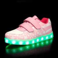 Niebieskie różowe nowe dzieci świecące tenisówki Led świecące buty dla chłopców dziewcząt modne oświetlenie Casual kids 7 kolorów USB charge
