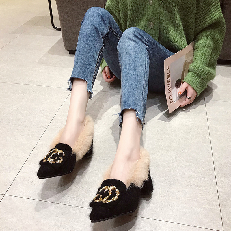 Trendy British Style shoes women women pumps Winter Fur Slides flock pointed toe metal decoration square heels Sleeve Tassel 20