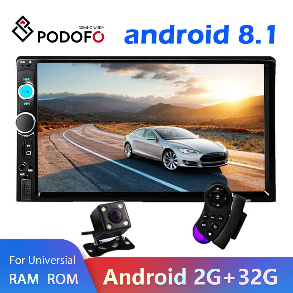"Podofo 2 din Android 8.1 Car Multimedia Player radio Stereo 7 ""Video MP5 Player GPS Bluetooth Per Volkswagen Nissan hyundai Kia"
