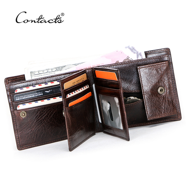 CONTACTS 100% Genuine Leather Men Wallet Coin Purse Small Card Holder Portomonee Male Wallets Vintage Money Bag Carteira Brand