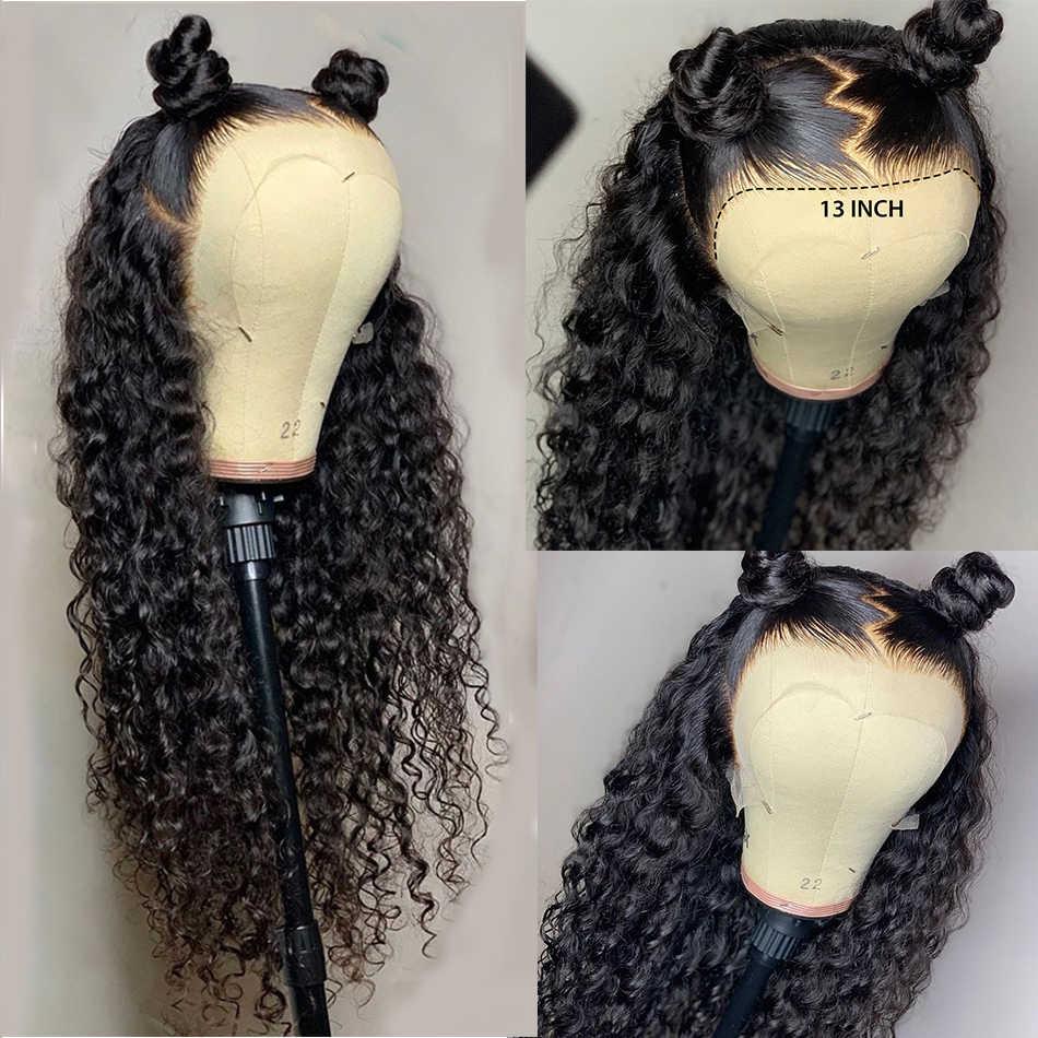 28 30 inç brezilyalı Jerry kıvırcık 13x4 dantel ön İnsan saç peruk ön koparıp tutkalsız Frontal peruk siyah kadınlar için derin dalga Remy