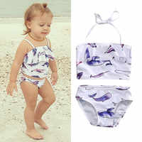 2020 neue Baby Mädchen Kinder Bikini Set Wenig Fisch Druck Top + Bottoms Badeanzug Bademode Badeanzug Bademode kinder biquni