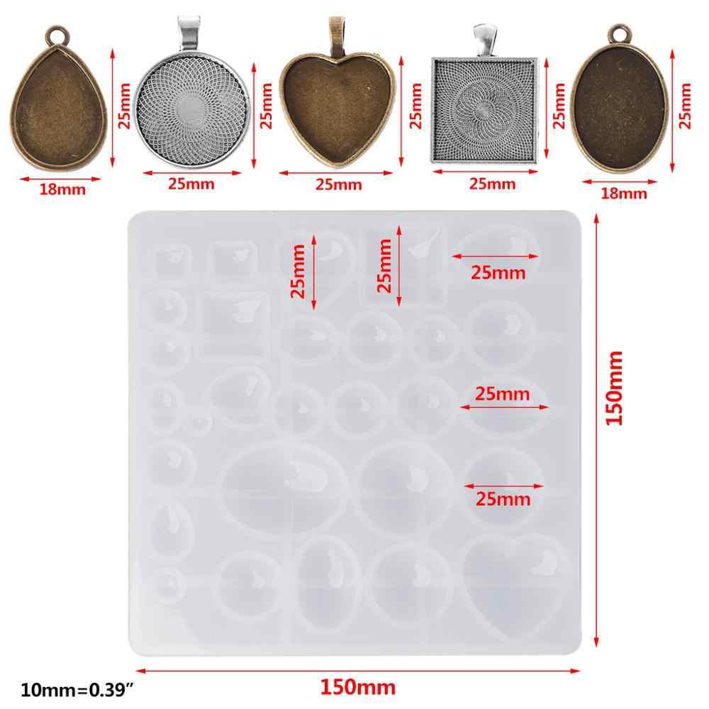 1 セットシリコーン型 + ペンダントフレームホルダージュエリー作成 Diy 用品所見ネックレス時間石高級クリエイティブハート