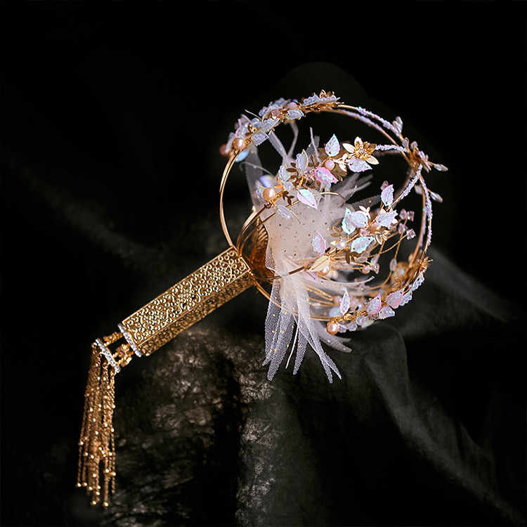 JaneVini, роскошный хрустальный свадебный веер, тростниковый букет, китайский стиль, древние золотые металлические цветы, круглые свадебные аксессуары для букетов