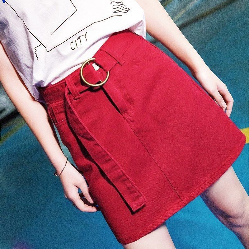 Sexy Denim Skirts For Ladies Big Plus Sizes Mini Red Black Blue Pencil Jeans Skirt Female Casual S M L 4XL Skirts Summer Woman
