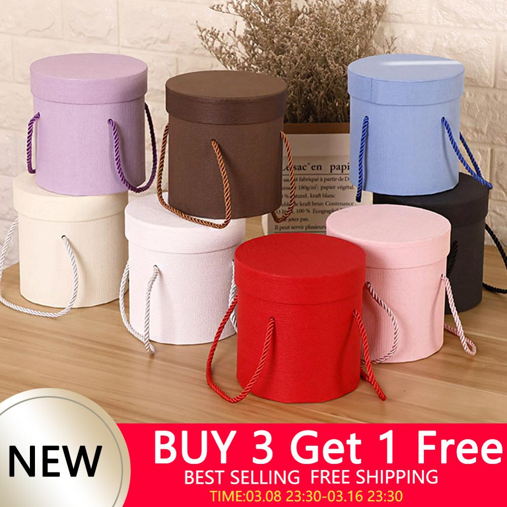 Buy 3 Get 1 Free Large Round Flower Boxes Lid Cardboard Hug Bucket Plain Customization Wholesale Gift Box Bags Wrapping Supplies