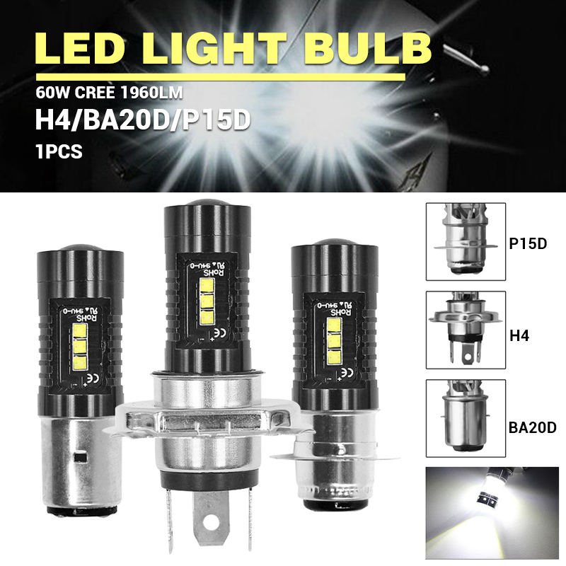 DERI 2pcs LED Motorcycle Headlight Bulb H4 BA20D P15D-25-1 Headlight Bulb For Cars Trucks ATVs UTVs Projection Ampoule Led Moto