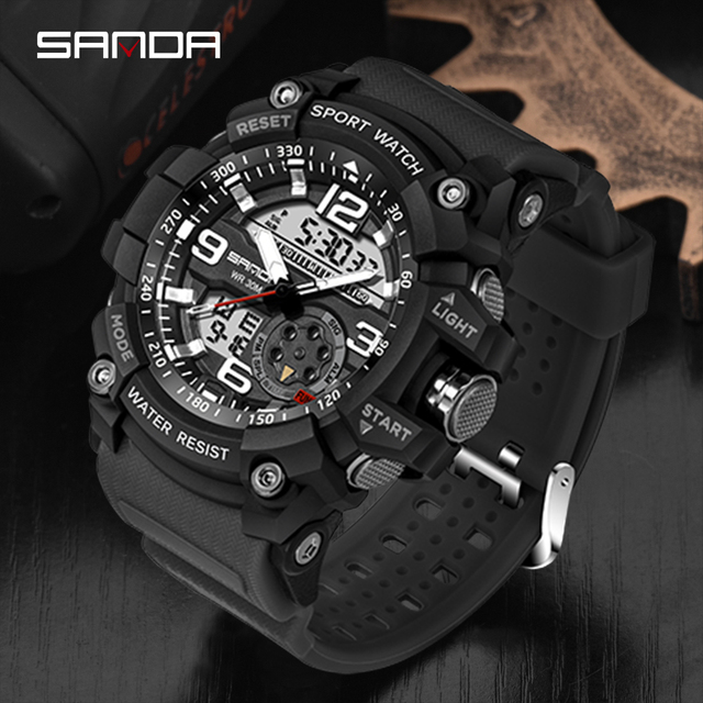 SANDA Top Luxury Watches Men Military Army Mens Watch 5