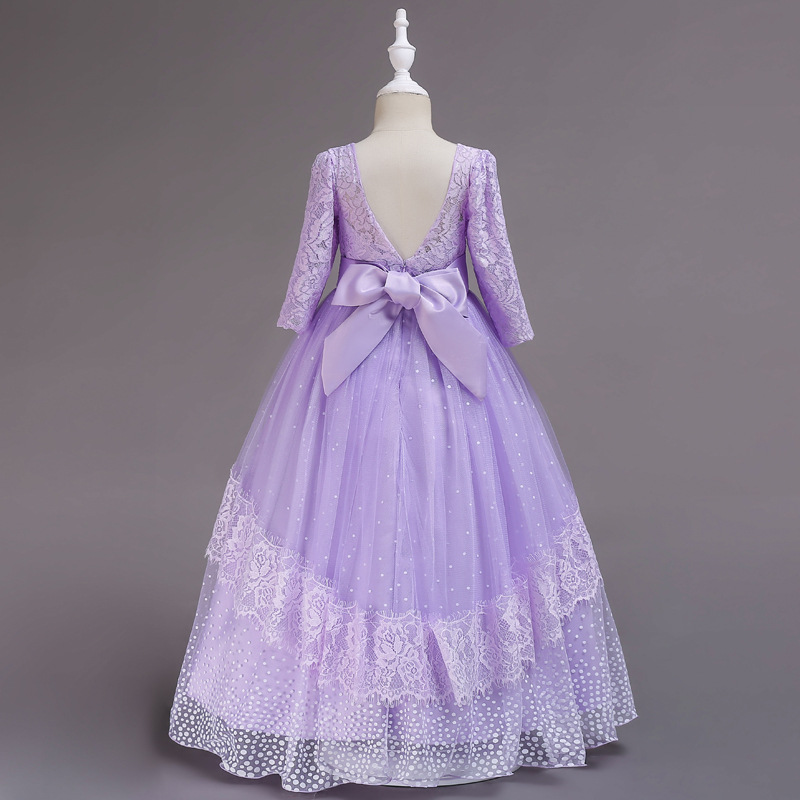Calissa New Style Children And To Long Skirts Autumn And Winter Lace Long Sleeve Princess Skirt Bow Host Formal Dress Performanc