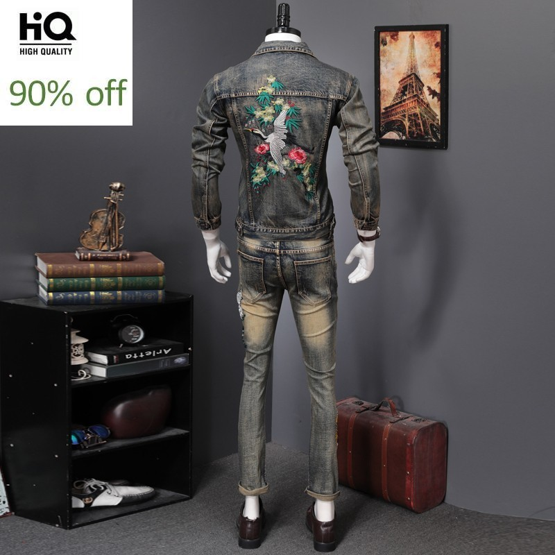 Spring Men Vintage Printed Turn-down Collar Denim Jacket Slim Embroidery Cowboy Coat + Jeans Pants Two Piece Set Male Streetwear