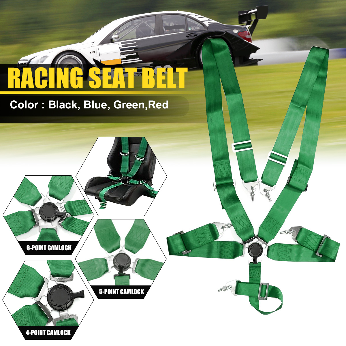 Carro de corrida cinto de segurança 4 5 6 ponto cam bloqueio corrida cinta ajustável arnês náilon universal veículo corrida segurança cinto segurança