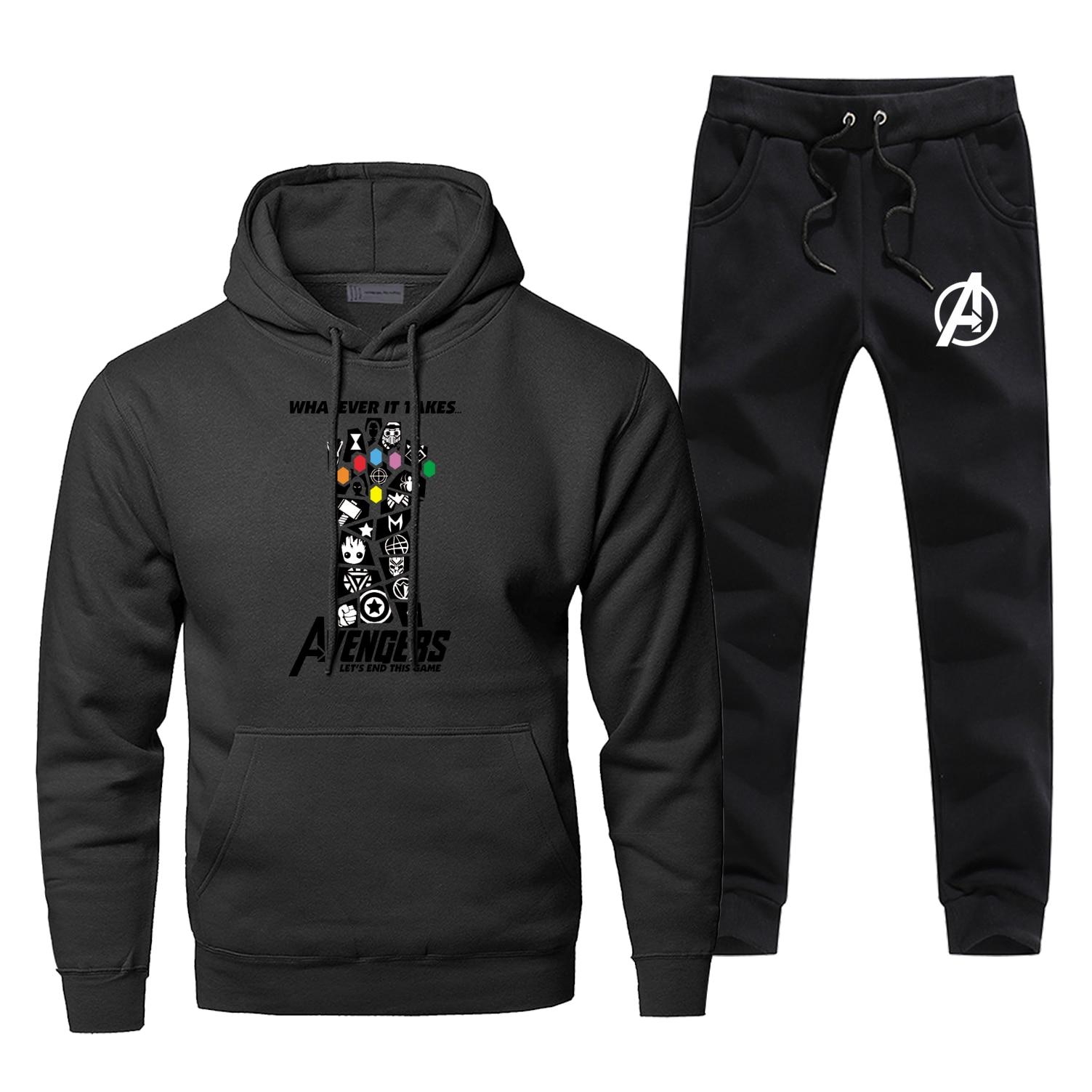 Marvel Avengers Iron Man Hoodies Tony Stark Sweatshirt Infinity Gauntlet Hoodies+pants Two Piece Sets Men Streetwear Sportswear