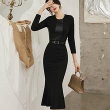 Winter Brand Clothes Midi Wrap Dress Women Sashes PU Leather Patchwork Black Bodycon Trumpet Autumn Ropa