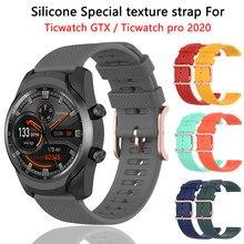 Ticwatch-correia de silicona para ticwatch pro 2020, acessórios de reloj para ticwatch gtx, pulsera com textura de goma de 22mm