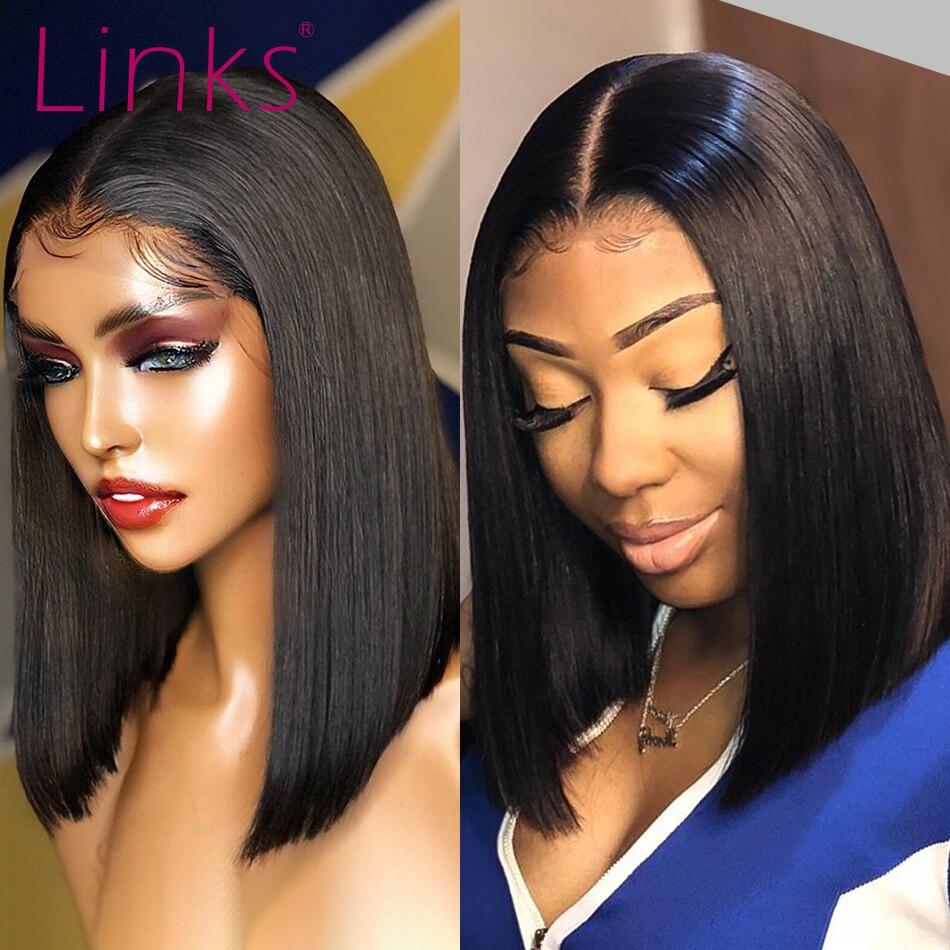 Link curto peruca de cabelo frontal 13x4, cabelo humano brasileiro remy 2x6 pré-selecionado com cabelo novo perucas, perucas