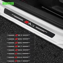 4 Uds de fibra de carbono de Puerta de coche pegatina para Audi Sline Quatttro A1 A3 A4 A5 A6 A7 A8 Q3 Q5 Q7 TT SQ3 SQ5 SQ7 S1 S2 S