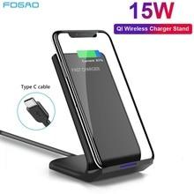 Fdgao 15 w qi sem fio carregador suporte para iphone 11 pro max xr xs max x qc 3.0 rápida indução estação de carregamento para samsung s10 s9