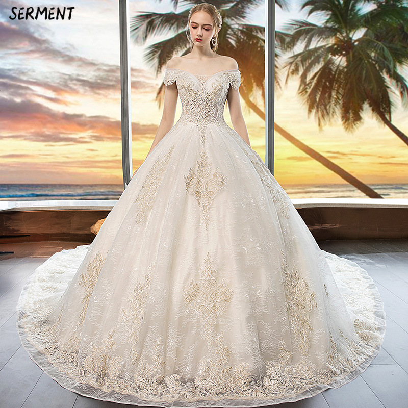 SERMENT Luxury Lace Sleeve Wedding Dress Off The Shoulder Suitable For Pregnant Women 100cm Tail Spring Summer Autumn Wedding