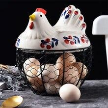Креативная ручная роспись Бытовая Керамическая корзина для яиц