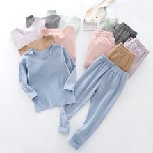 Thermal-Underwear-Set Girls Baby Stripe Warm-Suit And Boys Children -9245 Casual Fashion