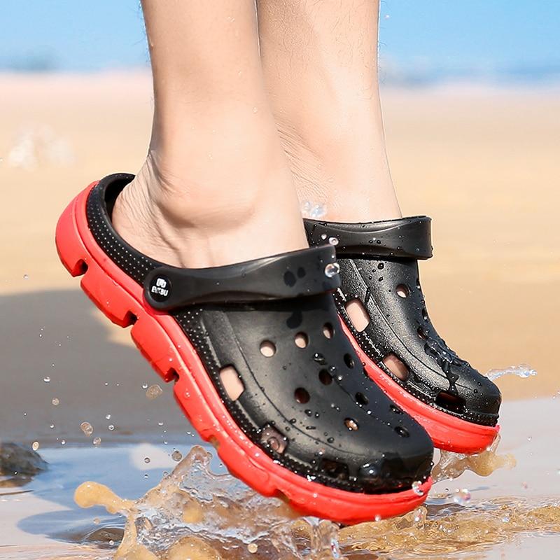 Men Sandals Slippers Summer Breathable Beach Sandals Men Double Wear Male Sandals Mesh Croc Jelly Shoes Beach Mens Slippers