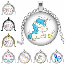 2019 New Creative Necklace Cartoon Unicorn Gift Glass Convex Anime Horse Pendant Necklace Fashion Jewelry 2019 explosion models unicorn glass necklace handmade anime cute tianma pendant long necklace birthday gift
