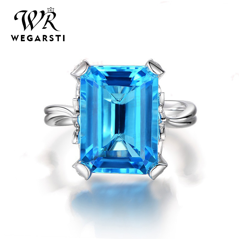 WEGARASTI Silver 925 Jewelry Ring Aquamarine Sapphire Party Classic 925 Sterling Silver Rings Jewelry Woman Wedding Gift