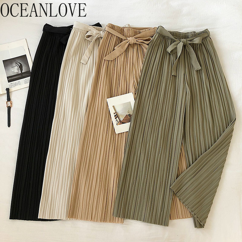 OCEANLOVE Chiffon Sping Summer Bandage Women Pants Solid Bow Pleated 2020 Pantalon Femme Casual Simple Ropa Mujer Loose 14064