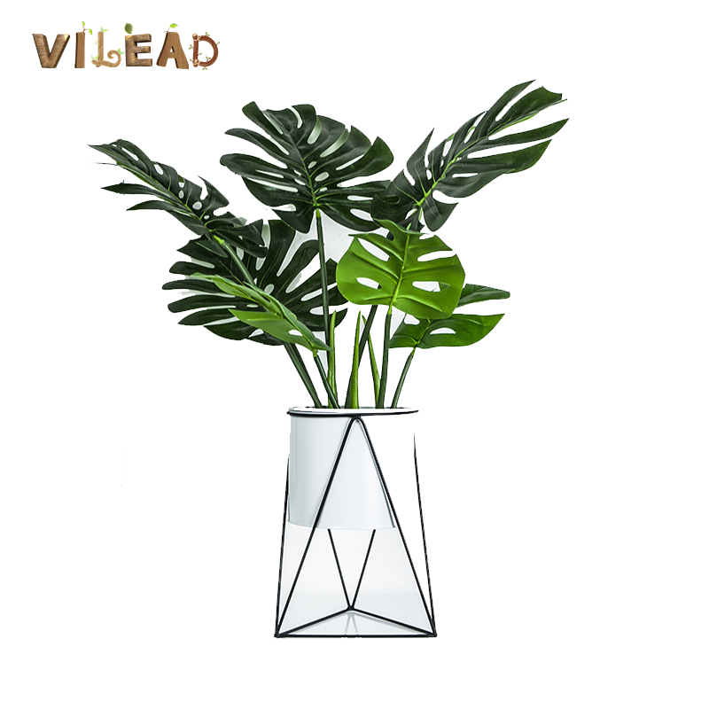 VILEAD Creative Iron Flower Pot Black White Vase Home Decoration Nordic Style Living Room Bedroom Home Hecor Flowerpot