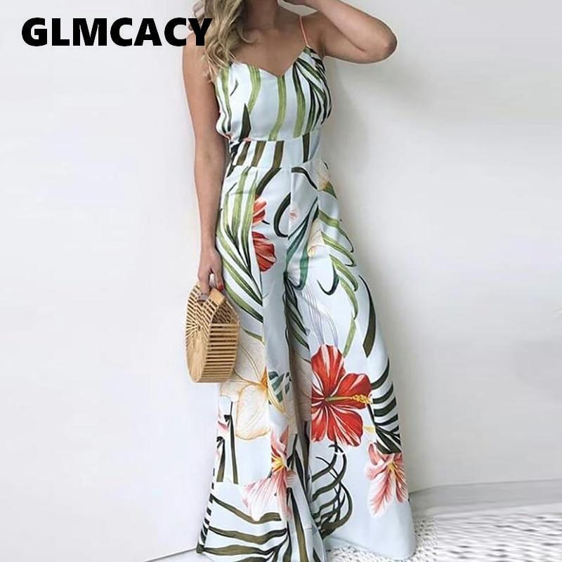 Women Floral Printed Summer Boho Beach Jumpsuit Sleeveless Casual Long Wide Leg Overalls Elegant Chic Streetwear
